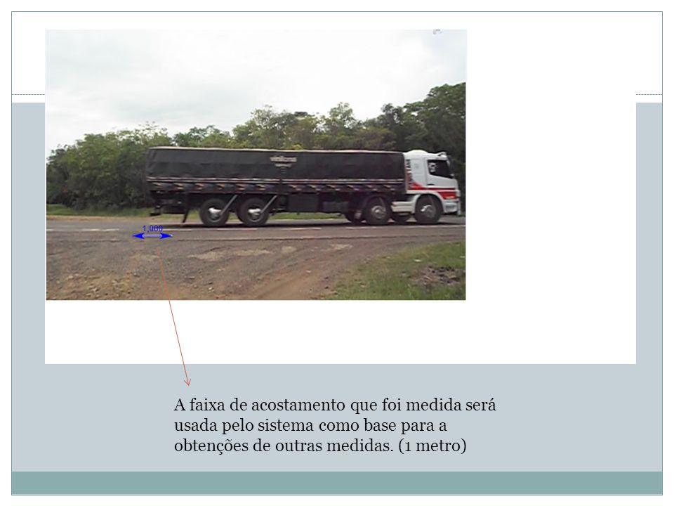 A faixa de acostamento que foi medida será usada pelo sistema como base para a obtenções de outras medidas.