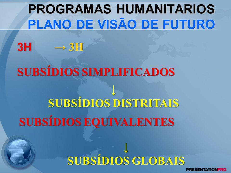 PROGRAMAS HUMANITARIOS PLANO DE VISÃO DE FUTURO