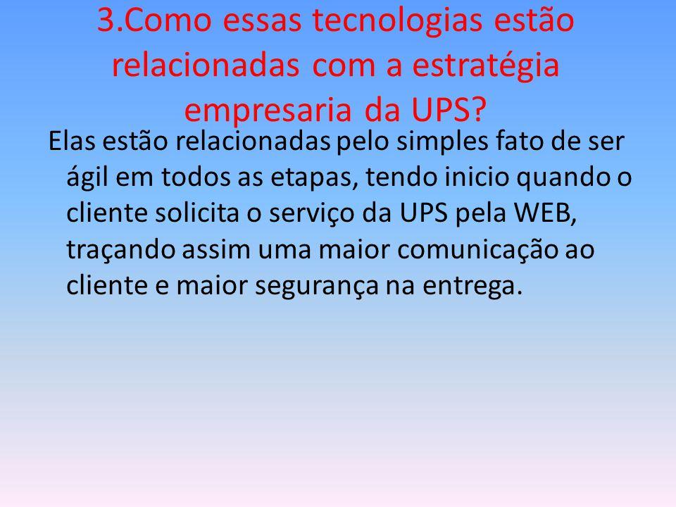 3.Como essas tecnologias estão relacionadas com a estratégia empresaria da UPS