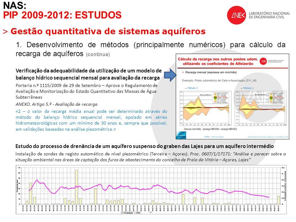 NAS: PIP 2009-2012: ESTUDOS Gestão quantitativa de sistemas aquíferos