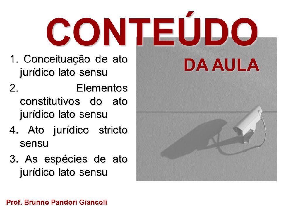 CONTEÚDO DA AULA 1. Conceituação de ato jurídico lato sensu