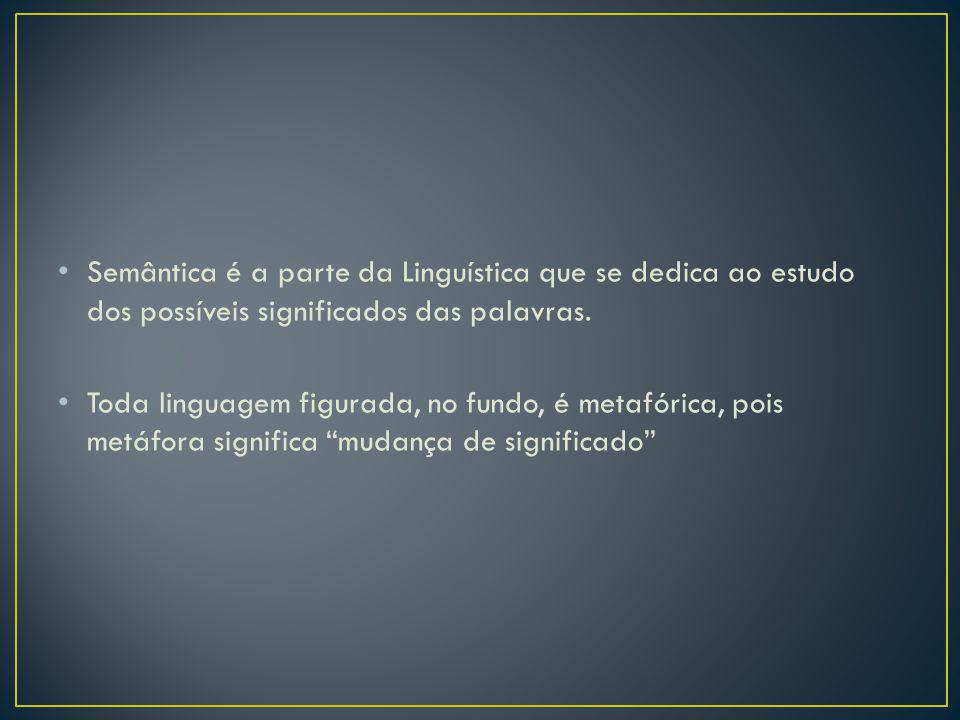 Semântica é a parte da Linguística que se dedica ao estudo dos possíveis significados das palavras.