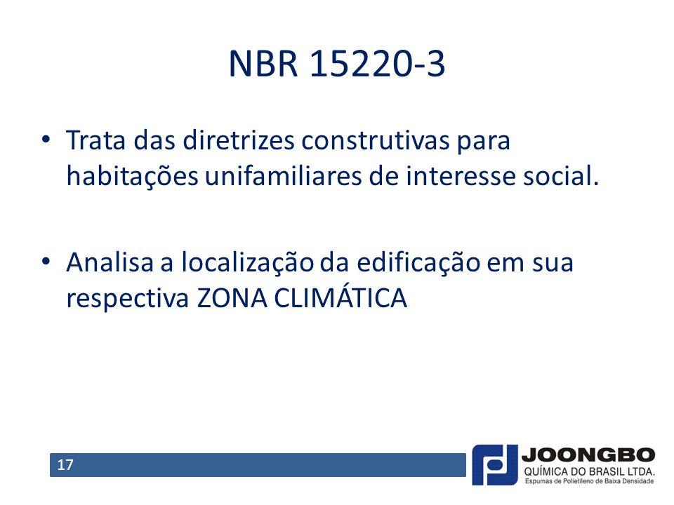 NBR 15220-3 Trata das diretrizes construtivas para habitações unifamiliares de interesse social.