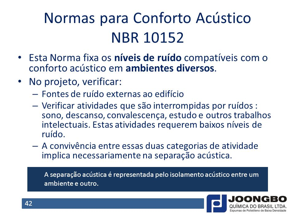 Normas para Conforto Acústico NBR 10152