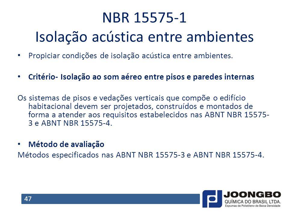 NBR 15575‐1 Isolação acústica entre ambientes