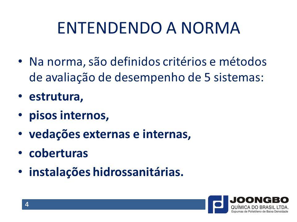 ENTENDENDO A NORMA Na norma, são definidos critérios e métodos de avaliação de desempenho de 5 sistemas: