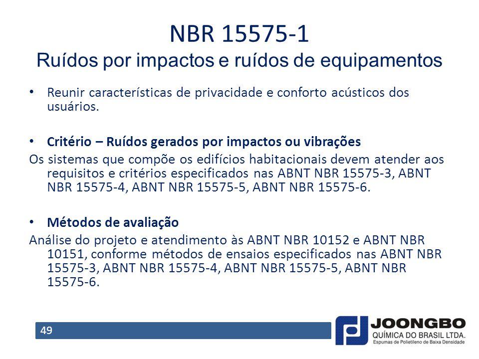 NBR 15575‐1 Ruídos por impactos e ruídos de equipamentos