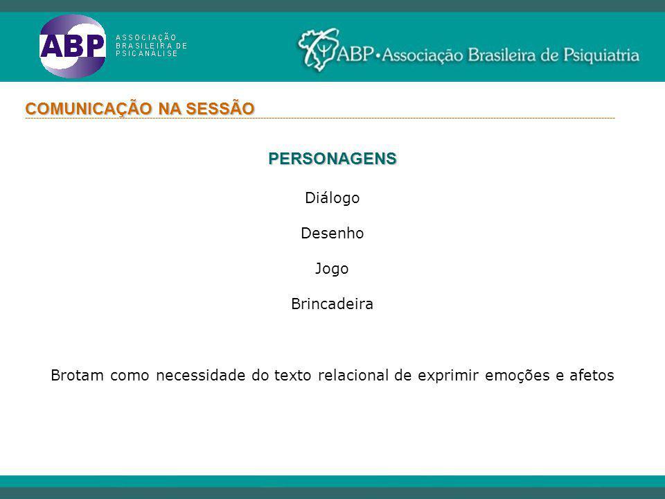 COMUNICAÇÃO NA SESSÃO PERSONAGENS Diálogo Desenho Jogo Brincadeira