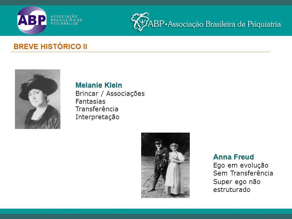 BREVE HISTÓRICO II Melanie Klein Anna Freud Brincar / Associações