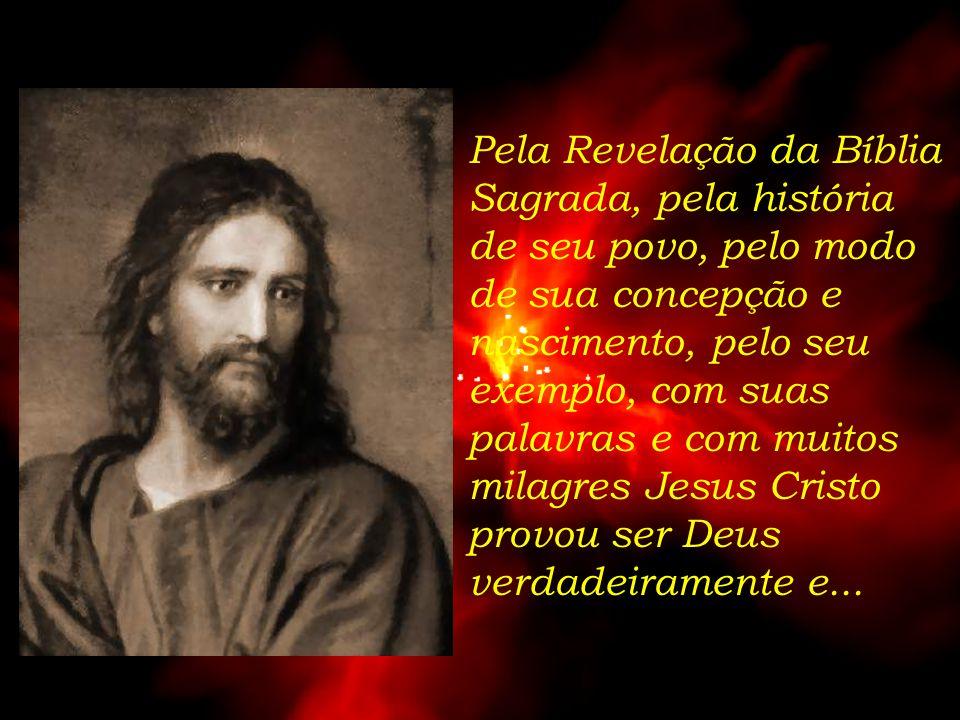 Pela Revelação da Bíblia Sagrada, pela história de seu povo, pelo modo de sua concepção e nascimento, pelo seu exemplo, com suas palavras e com muitos milagres Jesus Cristo provou ser Deus verdadeiramente e...