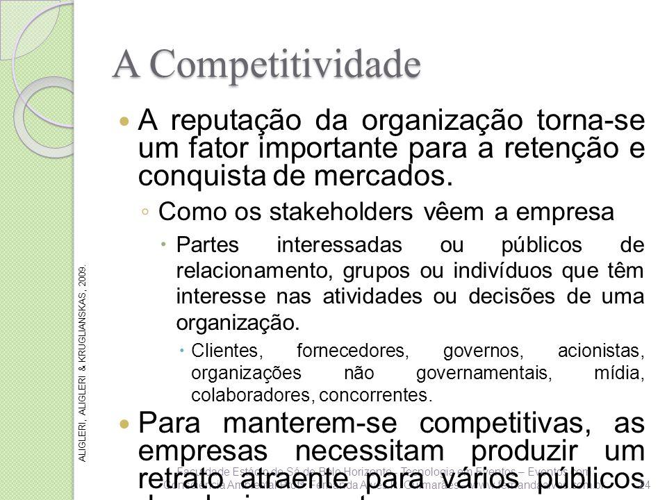 A Competitividade A reputação da organização torna-se um fator importante para a retenção e conquista de mercados.
