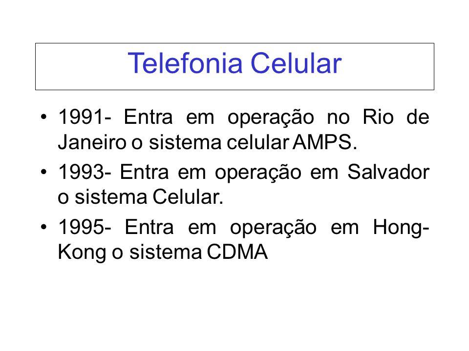Telefonia Celular 1991- Entra em operação no Rio de Janeiro o sistema celular AMPS. 1993- Entra em operação em Salvador o sistema Celular.