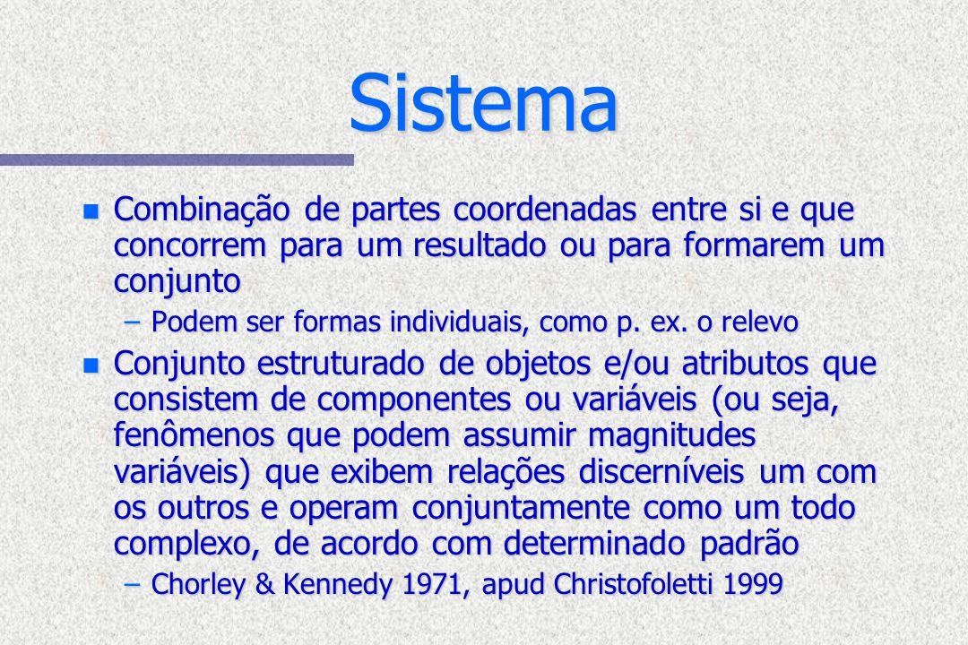 Sistema Combinação de partes coordenadas entre si e que concorrem para um resultado ou para formarem um conjunto.