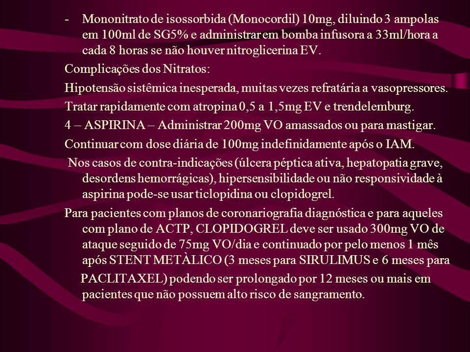 Mononitrato de isossorbida (Monocordil) 10mg, diluindo 3 ampolas em 100ml de SG5% e administrar em bomba infusora a 33ml/hora a cada 8 horas se não houver nitroglicerina EV.