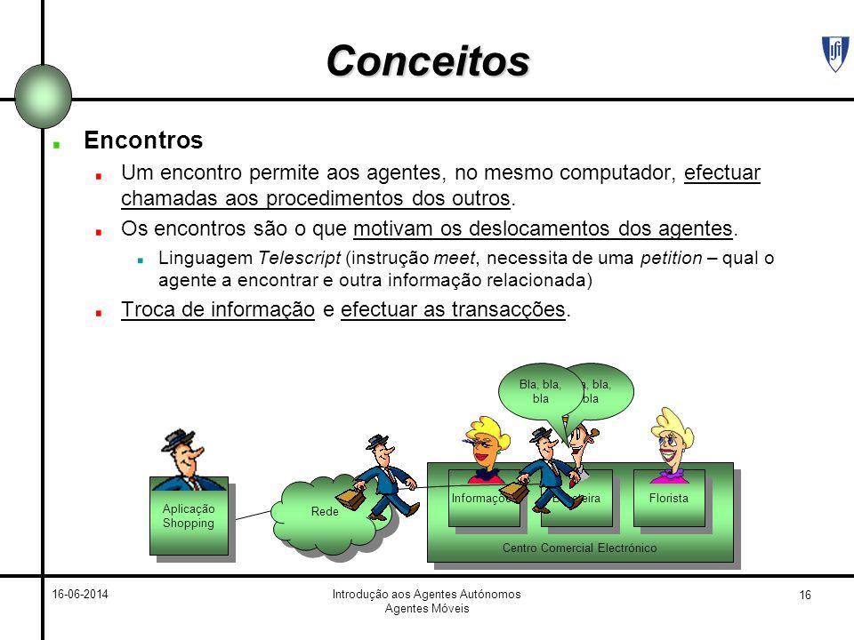 Conceitos Encontros. Um encontro permite aos agentes, no mesmo computador, efectuar chamadas aos procedimentos dos outros.