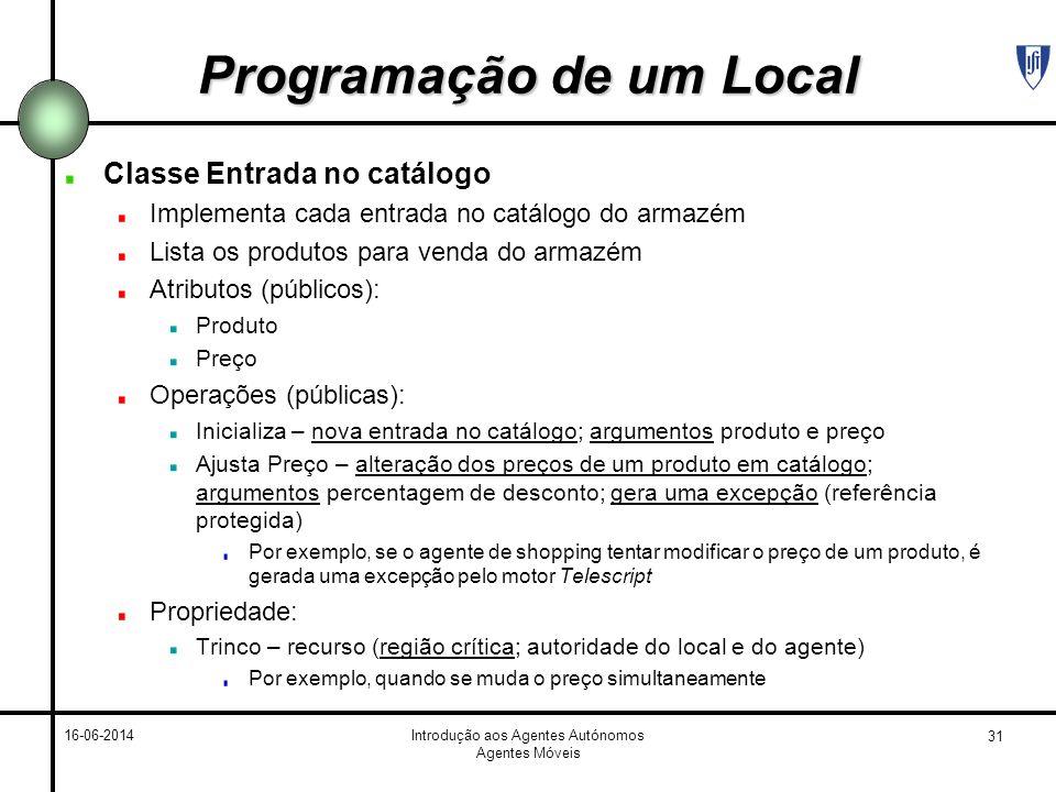 Programação de um Local