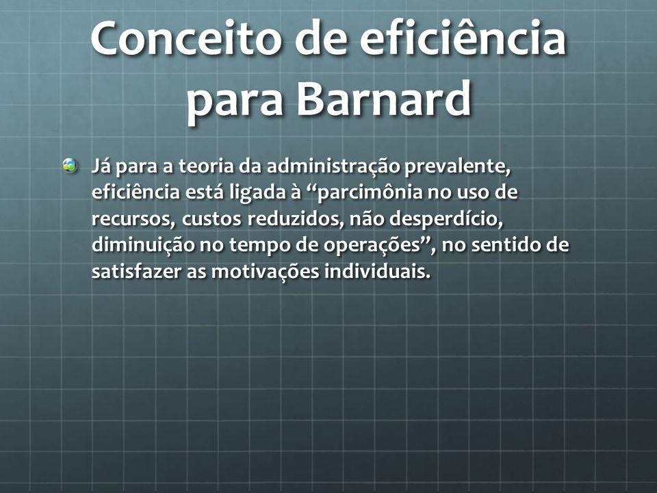 Conceito de eficiência para Barnard