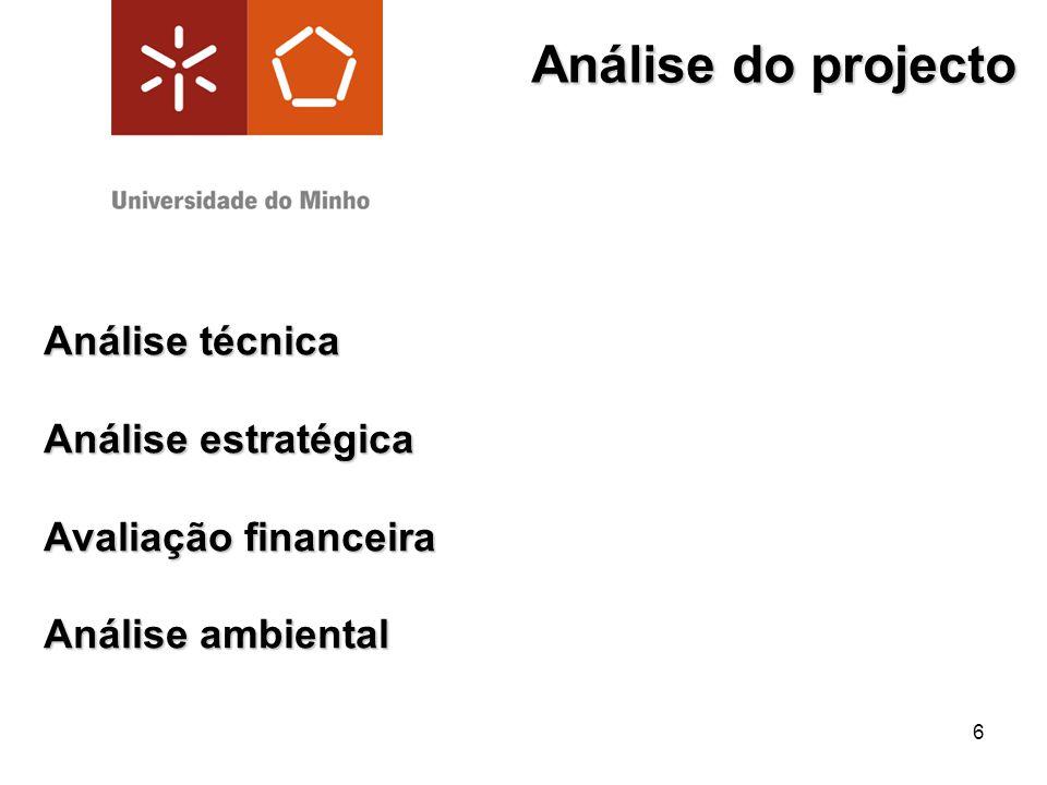 Análise do projecto Análise técnica Análise estratégica