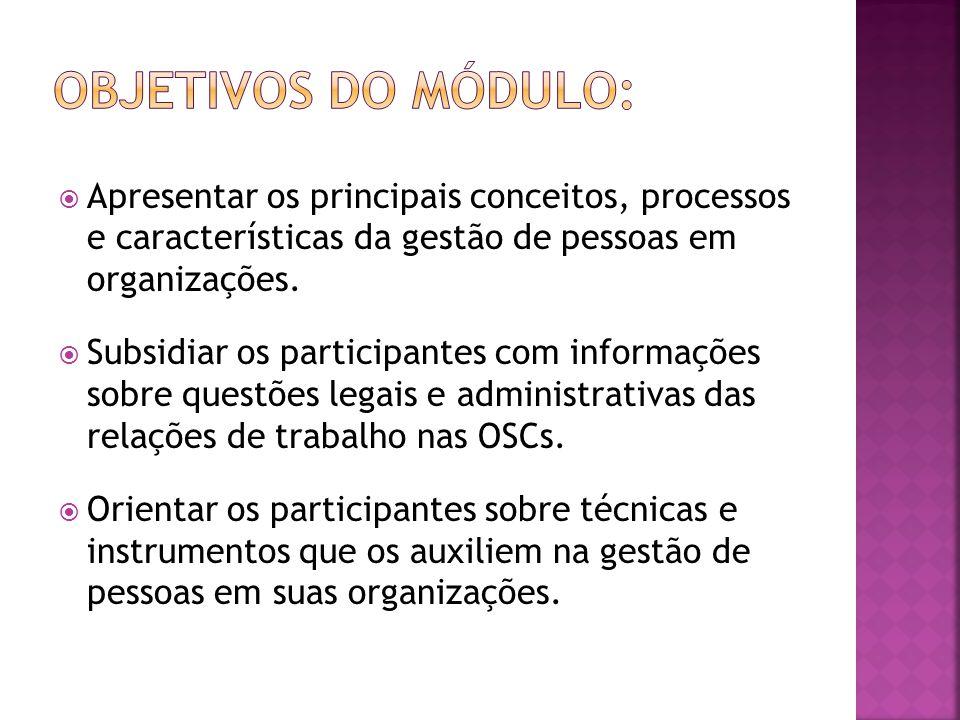 Objetivos do módulo: Apresentar os principais conceitos, processos e características da gestão de pessoas em organizações.