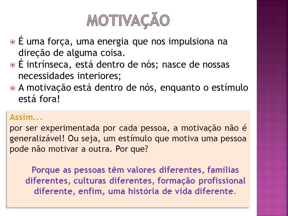 MOTIVAÇÃO É uma força, uma energia que nos impulsiona na direção de alguma coisa.