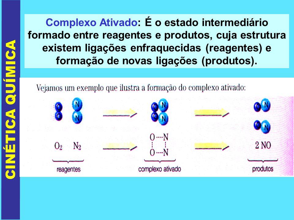 Complexo Ativado: É o estado intermediário formado entre reagentes e produtos, cuja estrutura existem ligações enfraquecidas (reagentes) e formação de novas ligações (produtos).