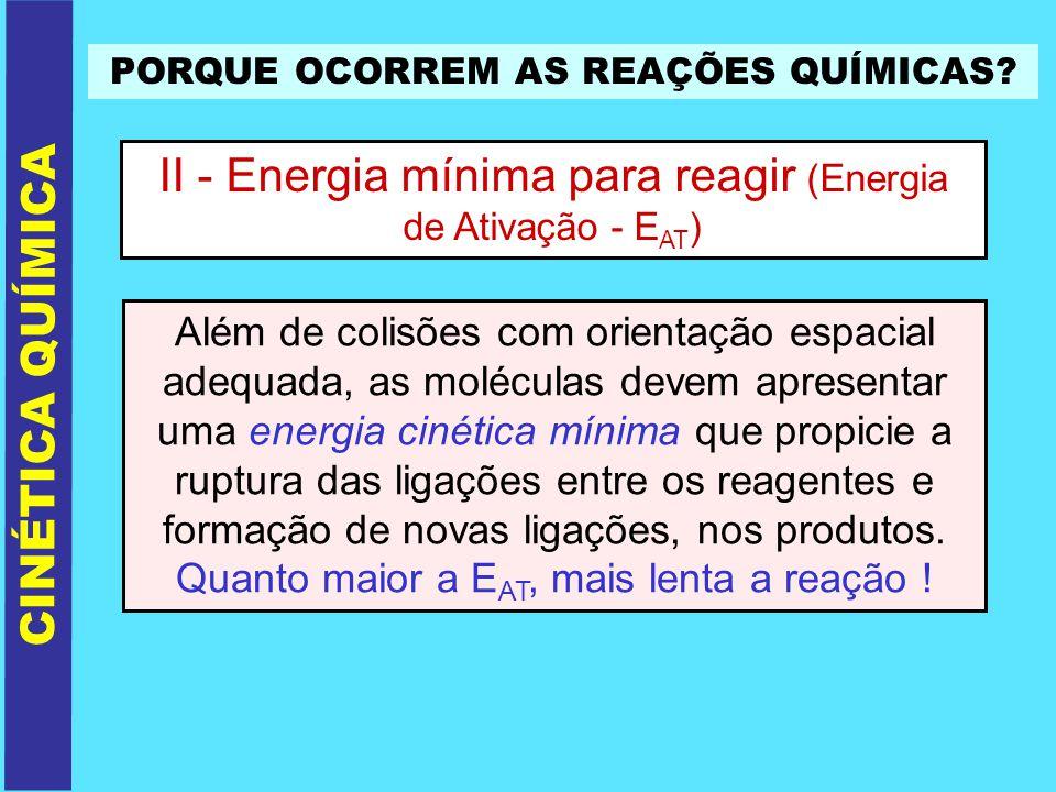 II - Energia mínima para reagir (Energia de Ativação - EAT)