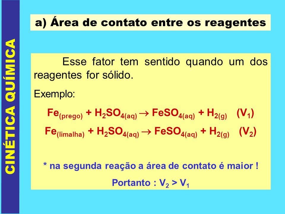 CINÉTICA QUÍMICA a) Área de contato entre os reagentes