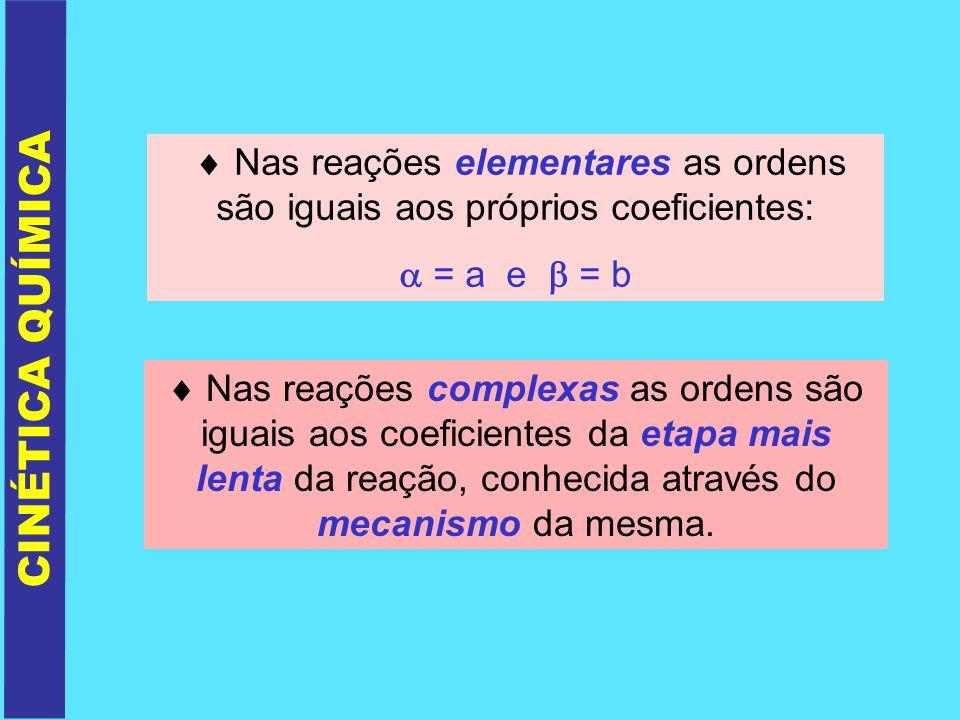  Nas reações elementares as ordens são iguais aos próprios coeficientes: