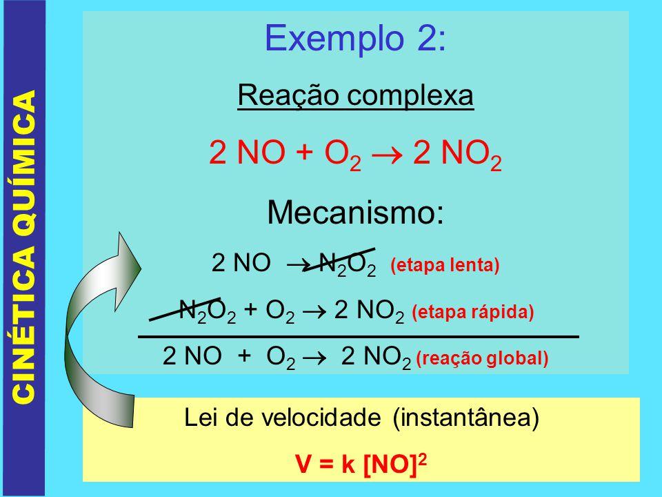 Exemplo 2: 2 NO + O2  2 NO2 Mecanismo: Reação complexa