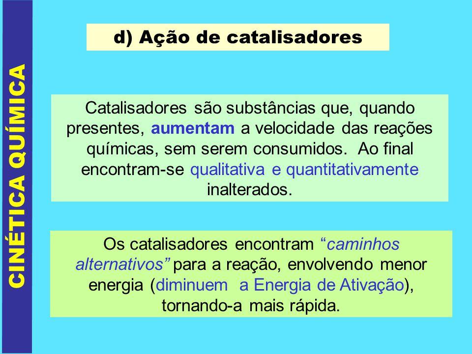 d) Ação de catalisadores