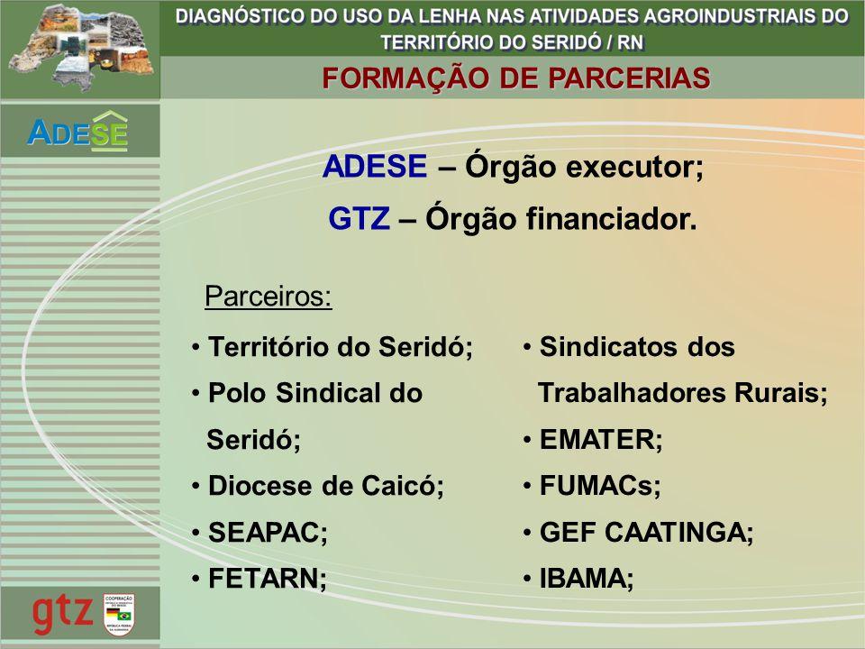 ADESE – Órgão executor; GTZ – Órgão financiador.