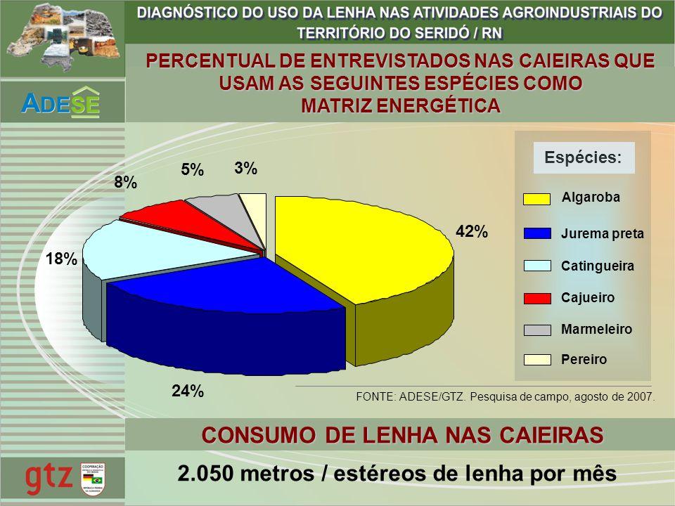 CONSUMO DE LENHA NAS CAIEIRAS 2.050 metros / estéreos de lenha por mês