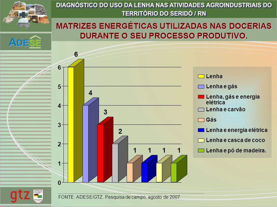 MATRIZES ENERGÉTICAS UTILIZADAS NAS DOCERIAS DURANTE O SEU PROCESSO PRODUTIVO.
