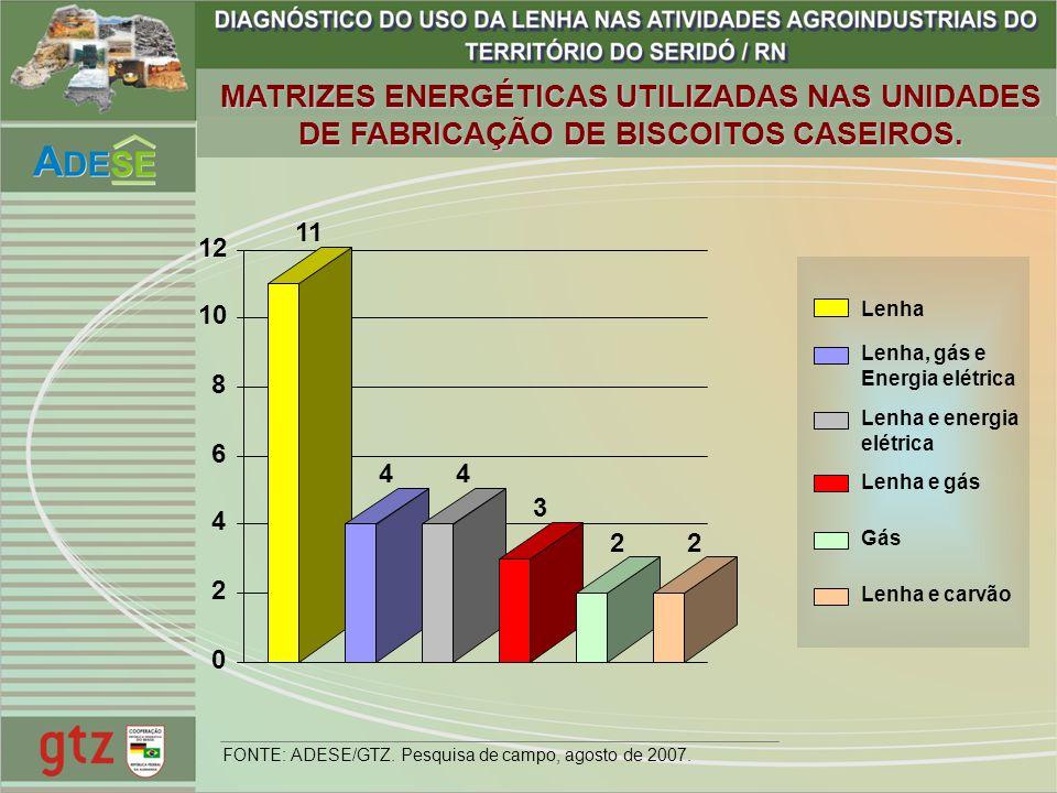 MATRIZES ENERGÉTICAS UTILIZADAS NAS UNIDADES DE FABRICAÇÃO DE BISCOITOS CASEIROS.