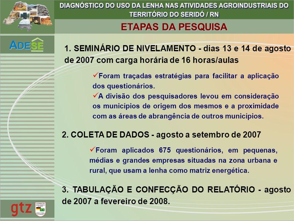 ETAPAS DA PESQUISA 1. SEMINÁRIO DE NIVELAMENTO - dias 13 e 14 de agosto de 2007 com carga horária de 16 horas/aulas.