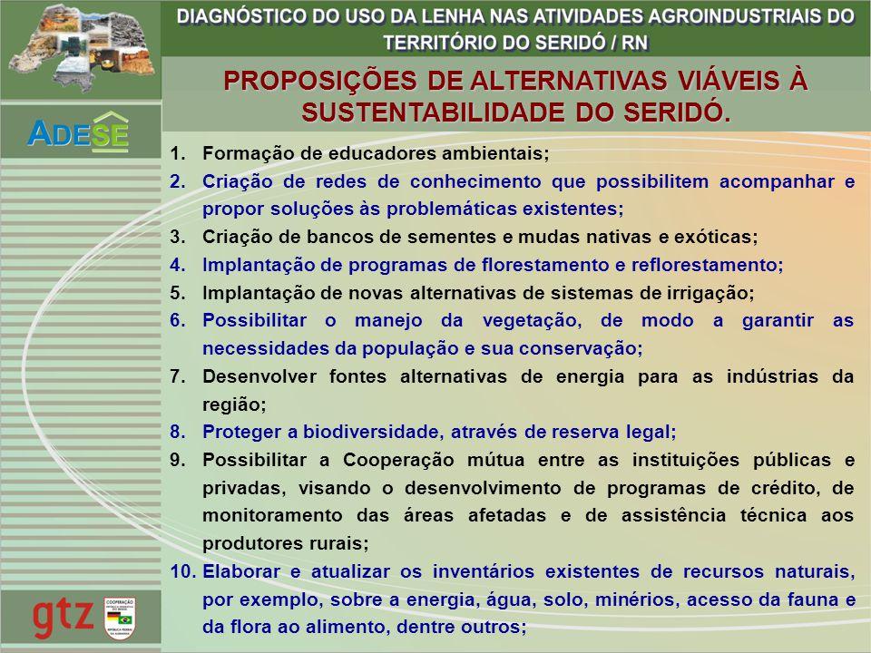 PROPOSIÇÕES DE ALTERNATIVAS VIÁVEIS À SUSTENTABILIDADE DO SERIDÓ.