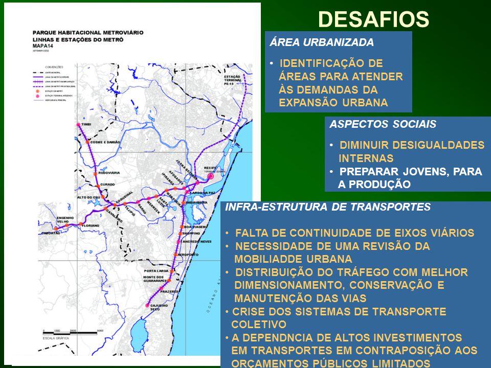DESAFIOS ÁREA URBANIZADA IDENTIFICAÇÃO DE ÁREAS PARA ATENDER