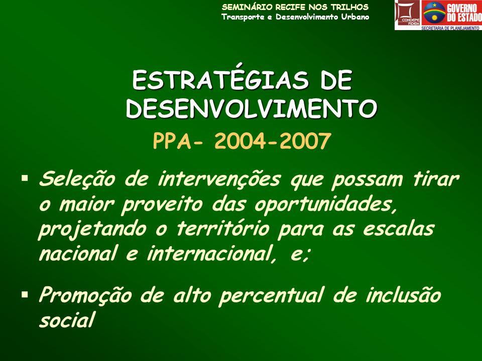 SEMINÁRIO RECIFE NOS TRILHOS Transporte e Desenvolvimento Urbano