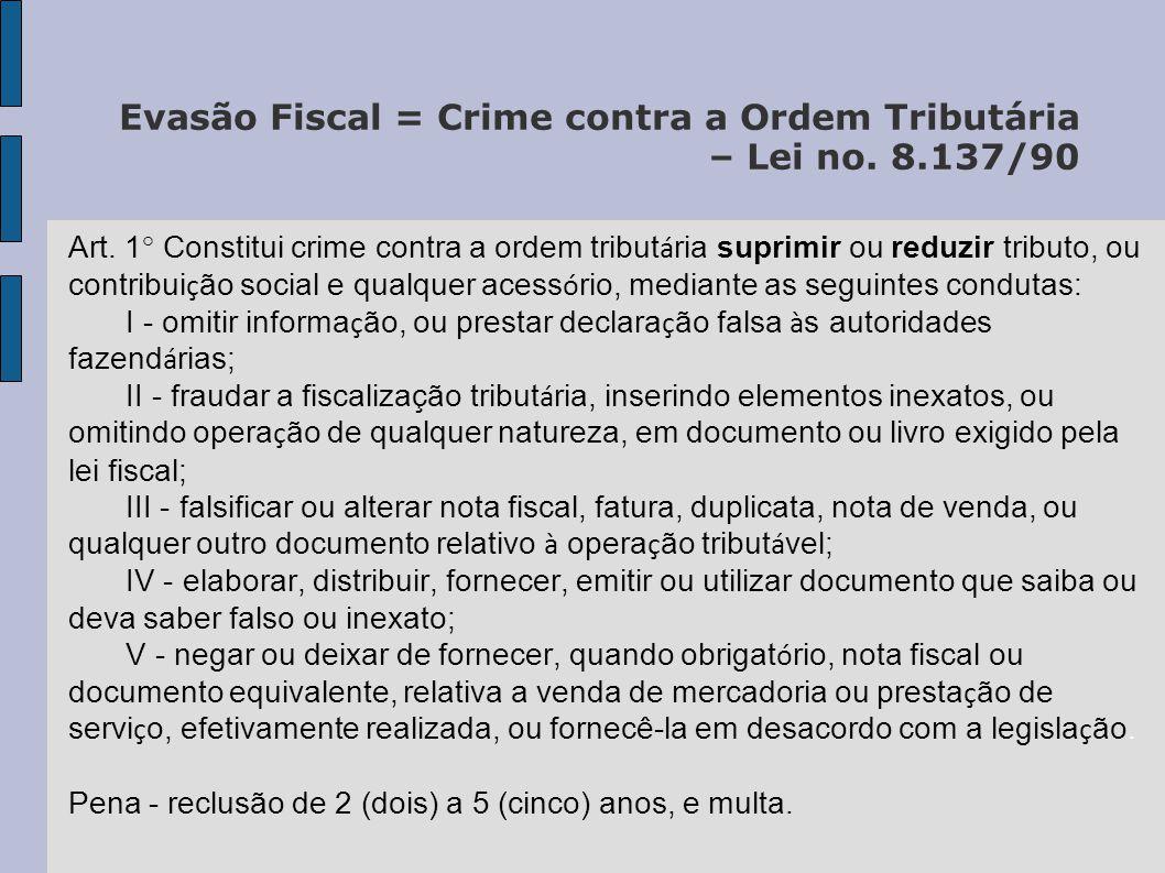 Evasão Fiscal = Crime contra a Ordem Tributária – Lei no. 8.137/90