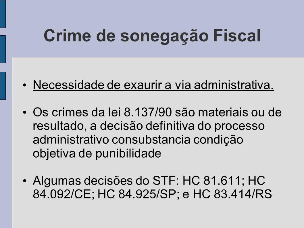 Crime de sonegação Fiscal