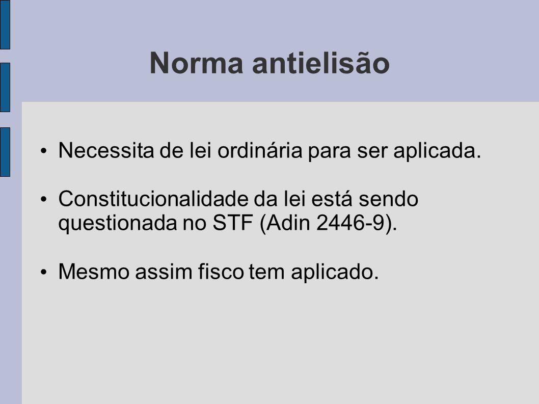 Norma antielisão Necessita de lei ordinária para ser aplicada.