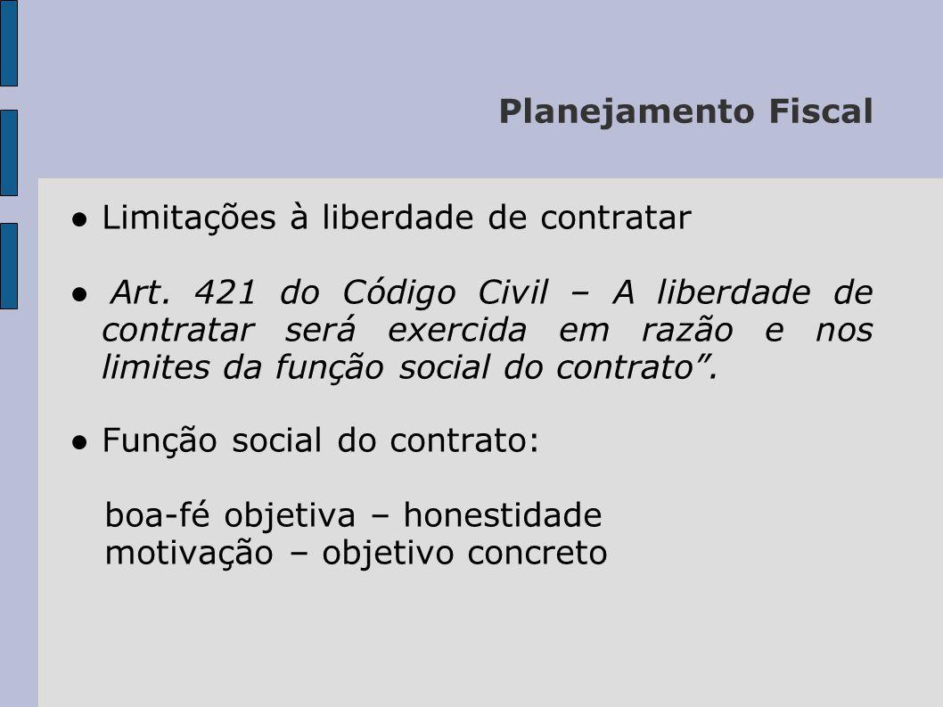 Planejamento Fiscal ● Limitações à liberdade de contratar.
