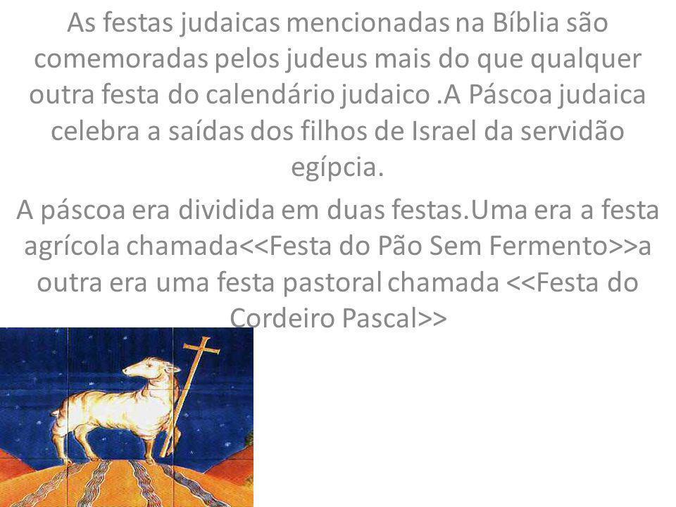 As festas judaicas mencionadas na Bíblia são comemoradas pelos judeus mais do que qualquer outra festa do calendário judaico .A Páscoa judaica celebra a saídas dos filhos de Israel da servidão egípcia.