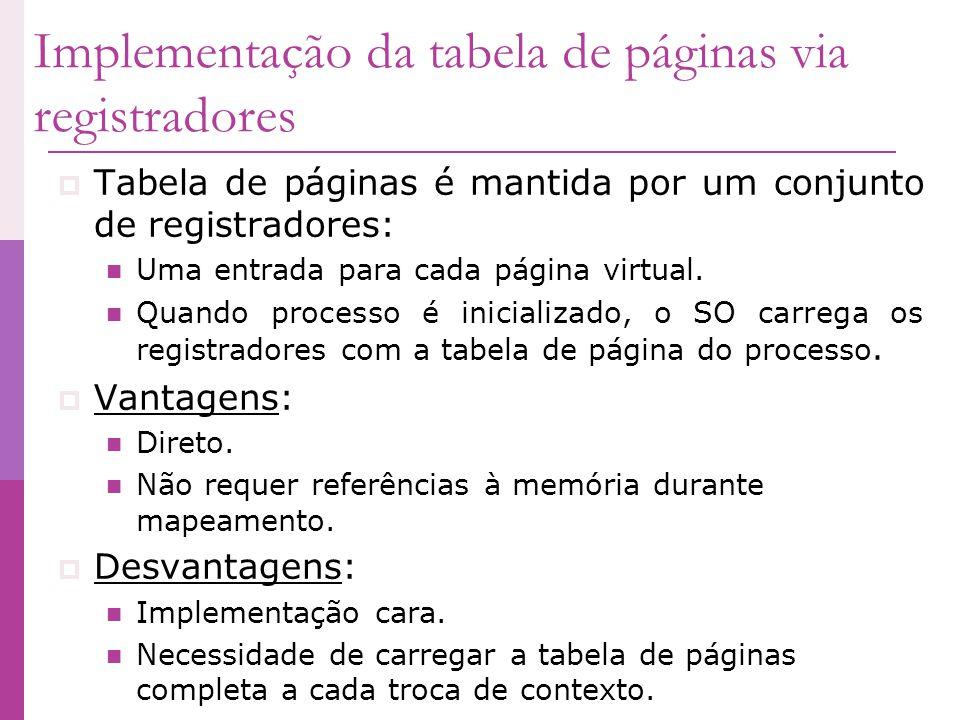 Implementação da tabela de páginas via registradores