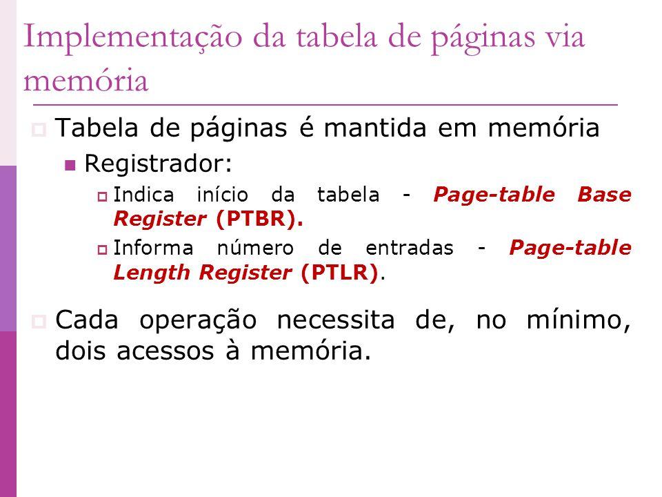 Implementação da tabela de páginas via memória