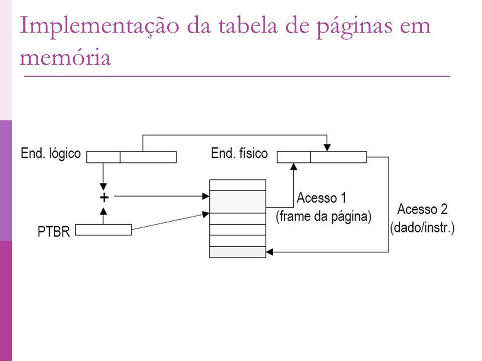 Implementação da tabela de páginas em memória