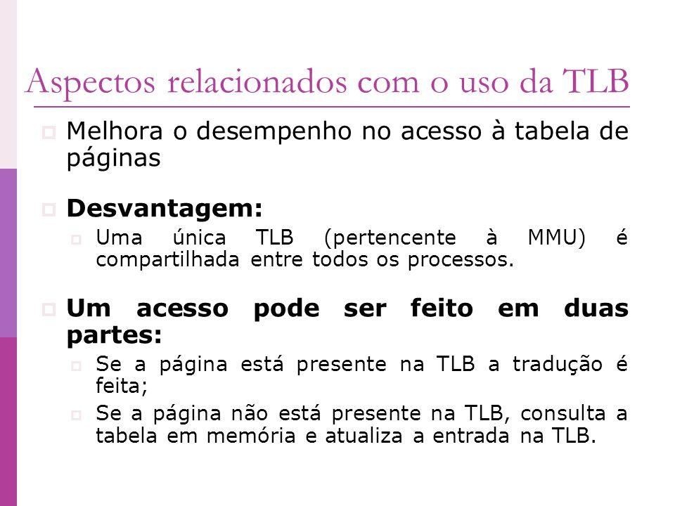 Aspectos relacionados com o uso da TLB