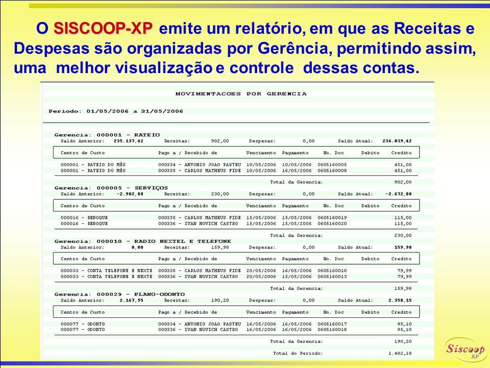 O SISCOOP-XP emite um relatório, em que as Receitas e Despesas são organizadas por Gerência, permitindo assim, uma melhor visualização e controle dessas contas.