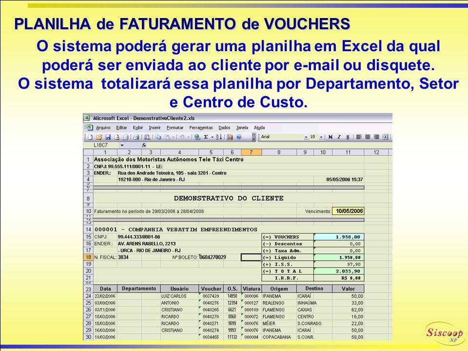 PLANILHA de FATURAMENTO de VOUCHERS