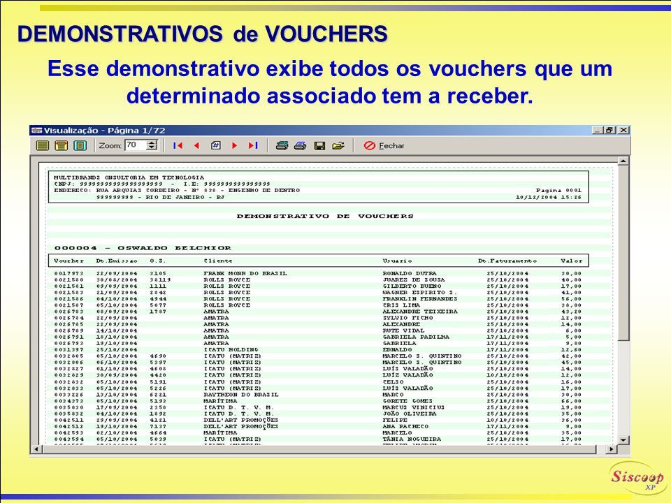 DEMONSTRATIVOS de VOUCHERS